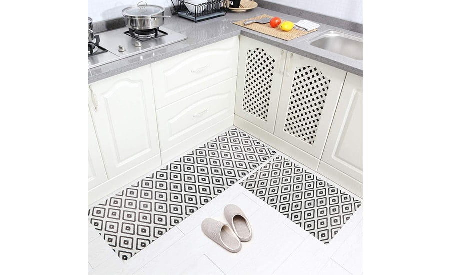 فرش ماشینی طرح آشپزخانه مجموعه 2 سایز کد K0019 زمینه مشکی