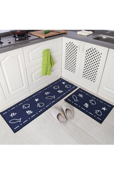 فرش ماشینی آشپزخانه کد K0010 زمینه سرمه ای