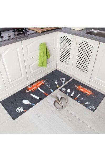 فرش ماشینی آشپزخانه کد K0008 زمینه مشکی