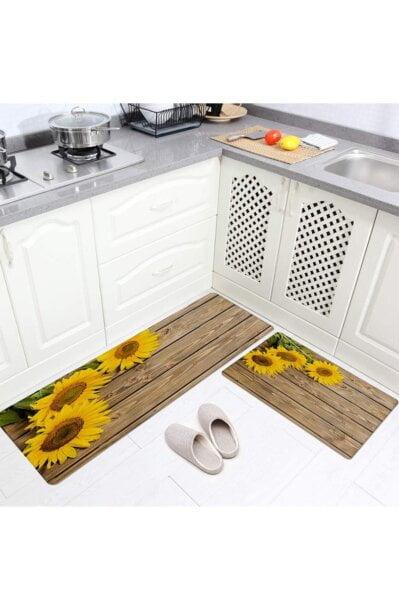 فرش ماشینی آشپزخانه کد K0019 زمینه قهوه ای