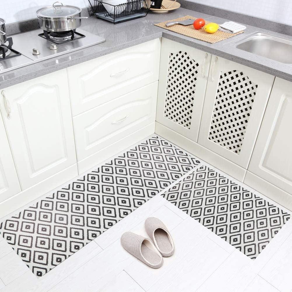 فرش ماشینی طرح آشپزخانه مجموعه 2 سایز کد K0019 زمینه طوسی