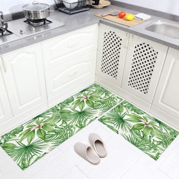 فرش ماشینی طرح آشپزخانه مجموعه 2 سایز کد K0020 زمینه سبز