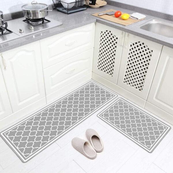 فرش ماشینی طرح آشپزخانه مجموعه 2 سایز کد K0018 زمینه طوسی