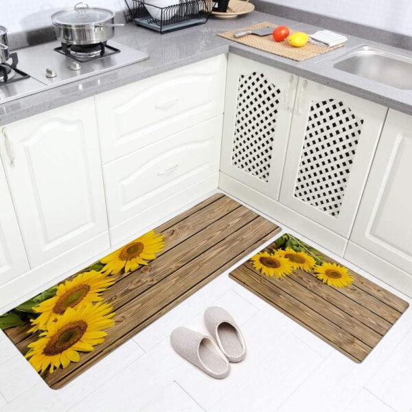 فرش ماشینی طرح آشپزخانه مجموعه 2 سایز کد K0019 زمینه قهوه ای