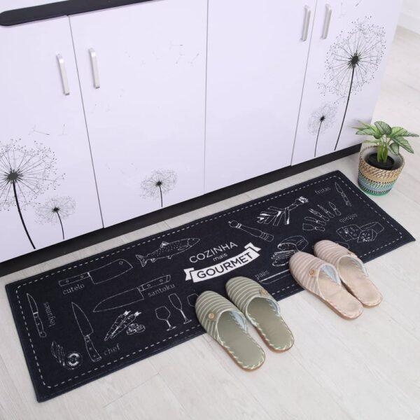 فرش ماشینی طرح آشپزخانه مجموعه 2 سایز کد K0014 زمینه مشکی