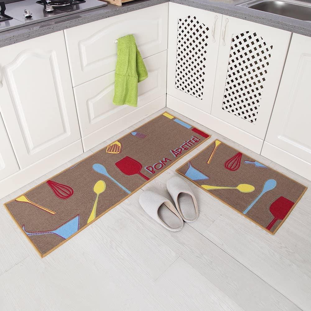 فرش ماشینی طرح آشپزخانه مجموعه 2 سایز کد K0013 زمینه قهوه ای