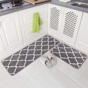 فرش ماشینی طرح آشپزخانه مجموعه 2 سایز کد K0015 زمینه طوسی