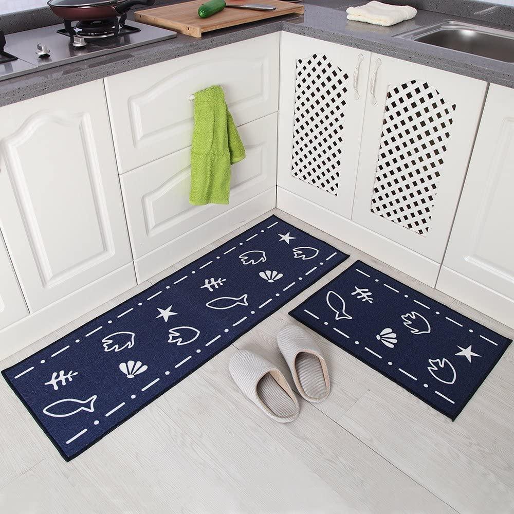 فرش ماشینی طرح آشپزخانه مجموعه 2 سایز کد K0010 زمینه سرمه ای