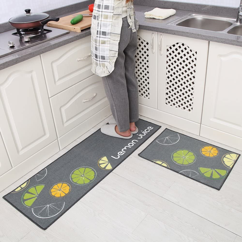 فرش ماشینی طرح آشپزخانه مجموعه 2 سایز کد K0012 زمینه طوسی