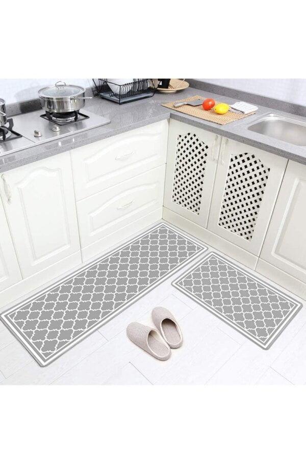 فرش ماشینی آشپزخانه کد K0018 زمینه طوسی