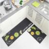 فرش ماشینی طرح آشپزخانه مجموعه 2 سایز کد K0016 زمینه مشکی