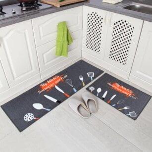 فرش ماشینی طرح آشپزخانه مجموعه 2 سایز کد K0011 زمینه کرم , قهوه ای