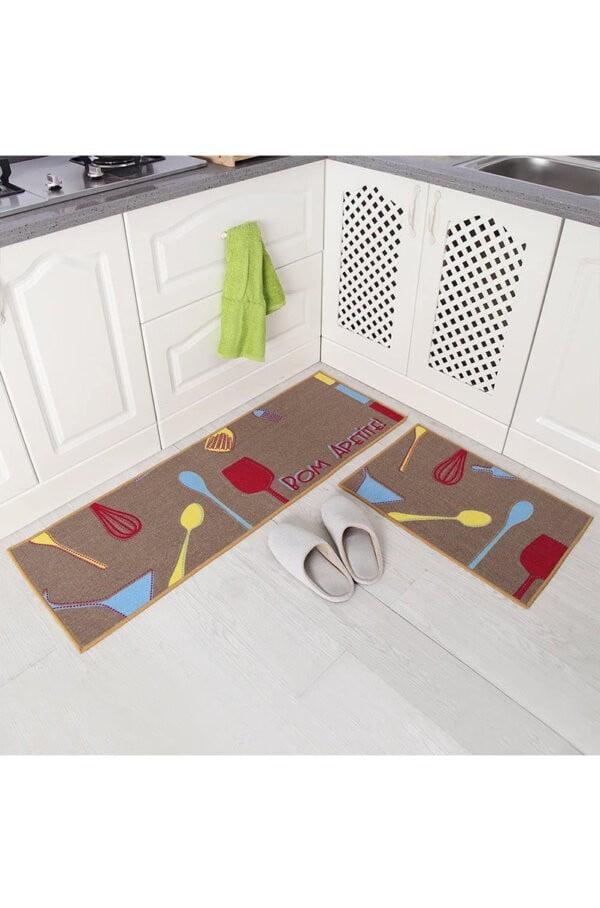 فرش ماشینی آشپزخانه کد K0013 زمینه قهوه ای