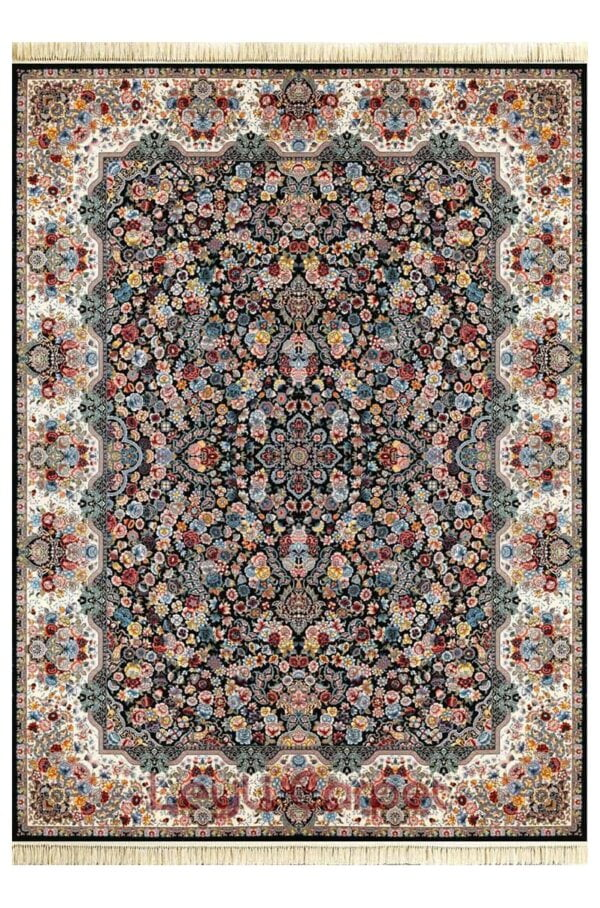 فرش ماشینی لیلی طرح رقص شکوفه ها سرمه ای 1000 شانه تراکم 3000