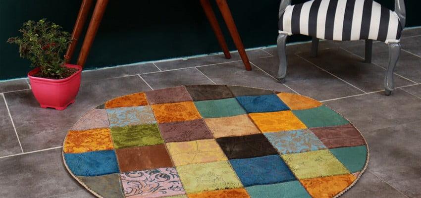 فرش ماشینی فانتزی تکه دوزی ( چهل تکه ) کد 300463
