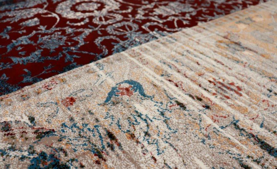 فرش فانتزی کلکسیون کهنه نما کد 700106 زمینه روناسی