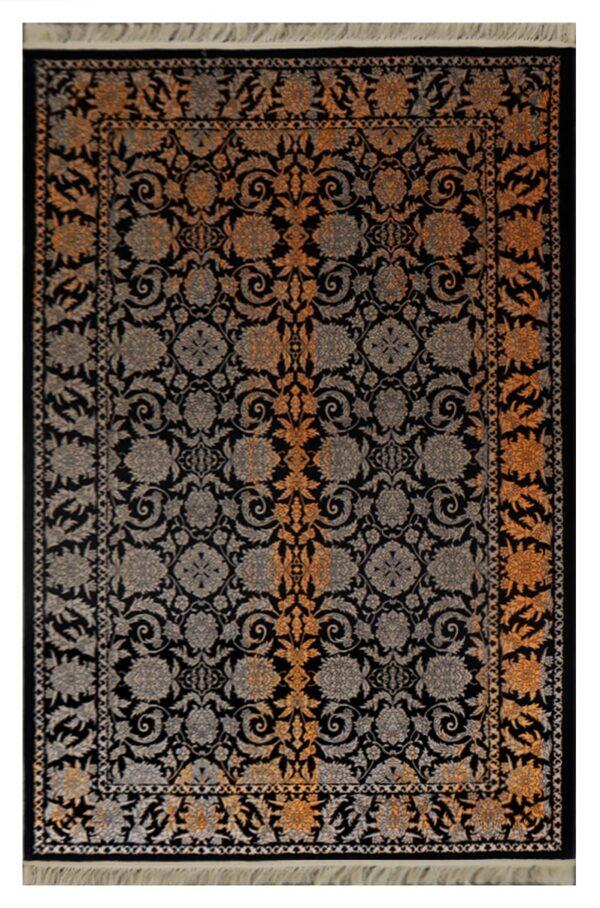 فرش فانتزی کلکسیون کهنه نما کد 700140 زمینه مشکی , نارنجی
