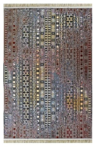 فرش فانتزی کلکسیون کهنه نما کد 700131 زمینه طوسی