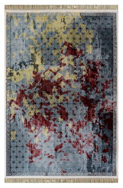 فرش فانتزی کلکسیون کهنه نما کد 700113 زمینه طوسی,زرد