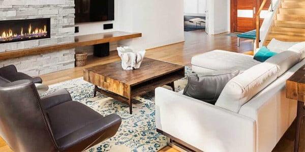 فرش آبی با مبلمان سفید