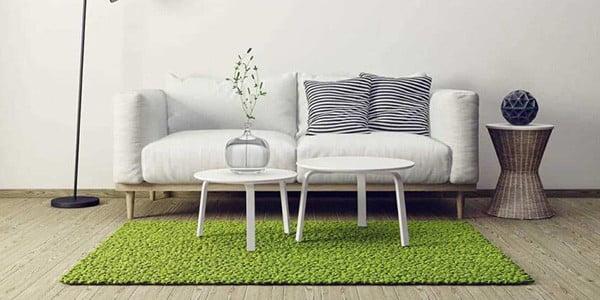 فرش سبز با مبلمان سفید