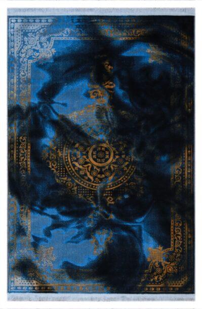 فرش فانتزی کلکسیون کهنه نما کد 653 زمینه آبی