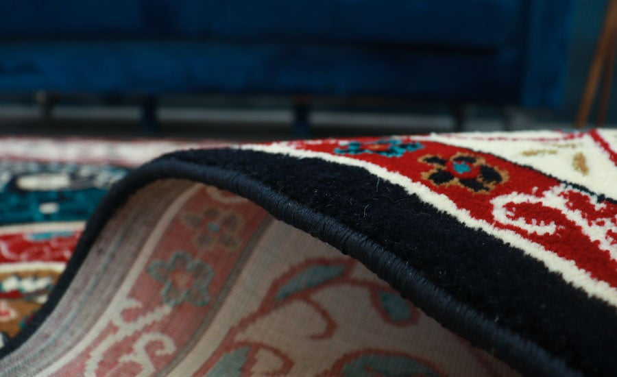 فرش ماشینی سبلان کلکسیون گبه کد 79 زمینه سرمه ای