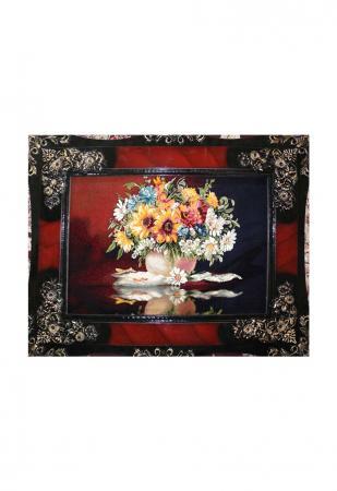 تابلو فرش منظره طرح گل و گلدان 4